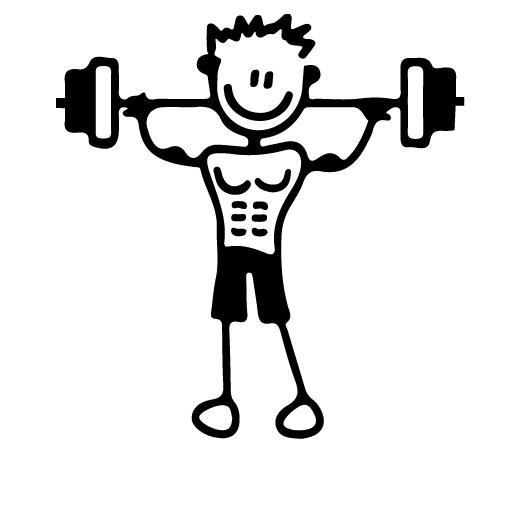 Papà che si allena con i pesi